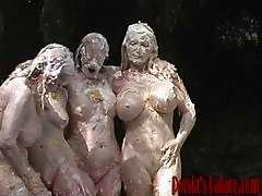 Horny lesbians having wet and messy foursome outdoor