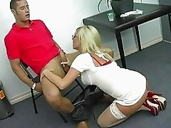 Superb busty blonde milf getting her pussy fucked and licked