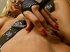 Hot blonde rocker Vega Vixen playing her tits and pink pussy in the studio