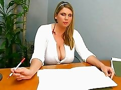 Mega breasted office bitch in red lingerie masturbates