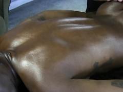 Interracial ass fingering at a massage